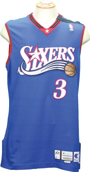 1999-2000 Allen Iverson Philadelphia 76ers Game Worn Jersey with Chamberlain Arm Band