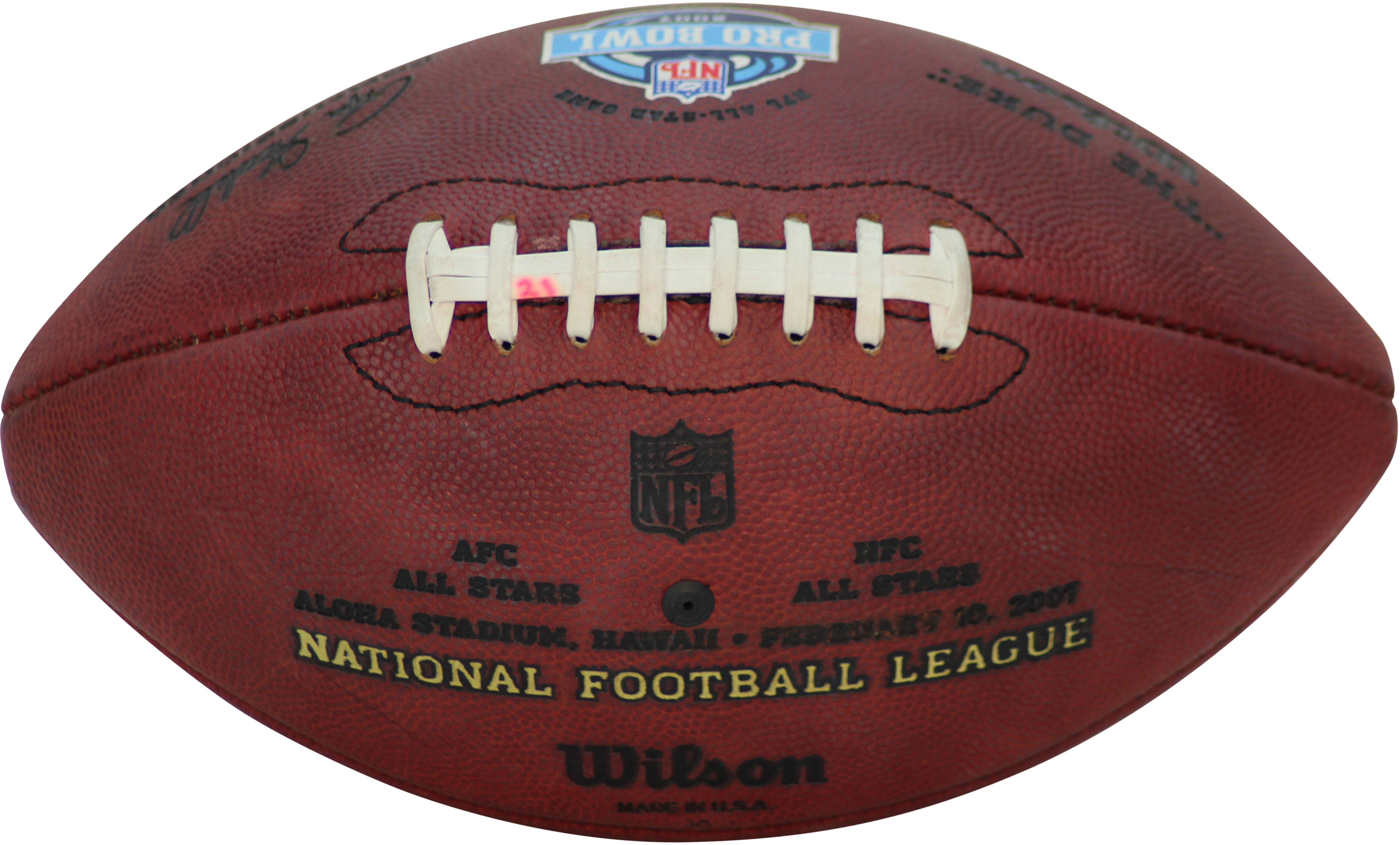 Barber Football : ... Detail - 2007 Tiki Barber Pro Bowl Game Used Actual Touchdown Football