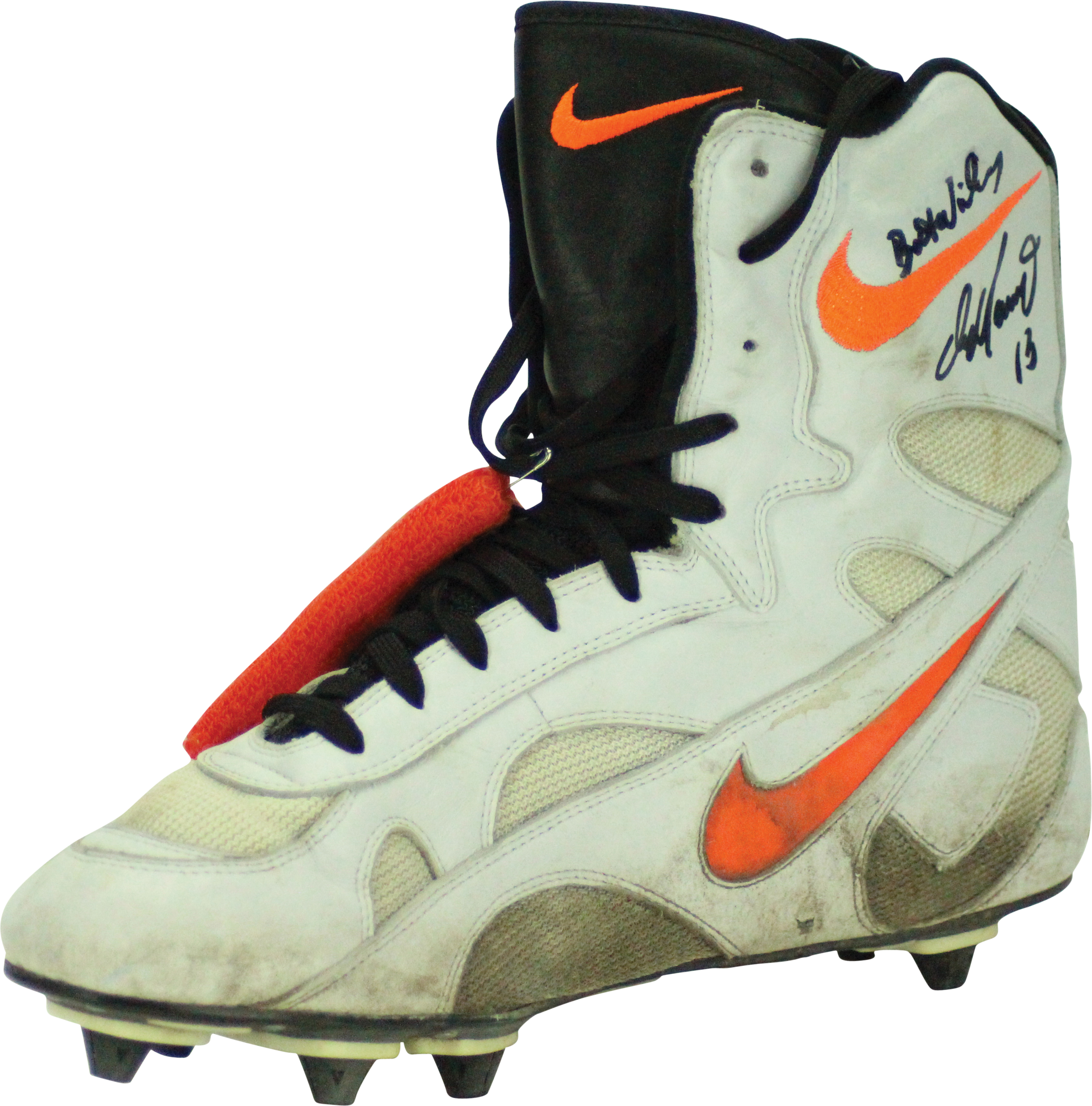 6cbed7a428c5 ... Dan Marino Miami Dolphins Game Used Worn and Hand Signed Custom Made  Nike Football Cleats and ...