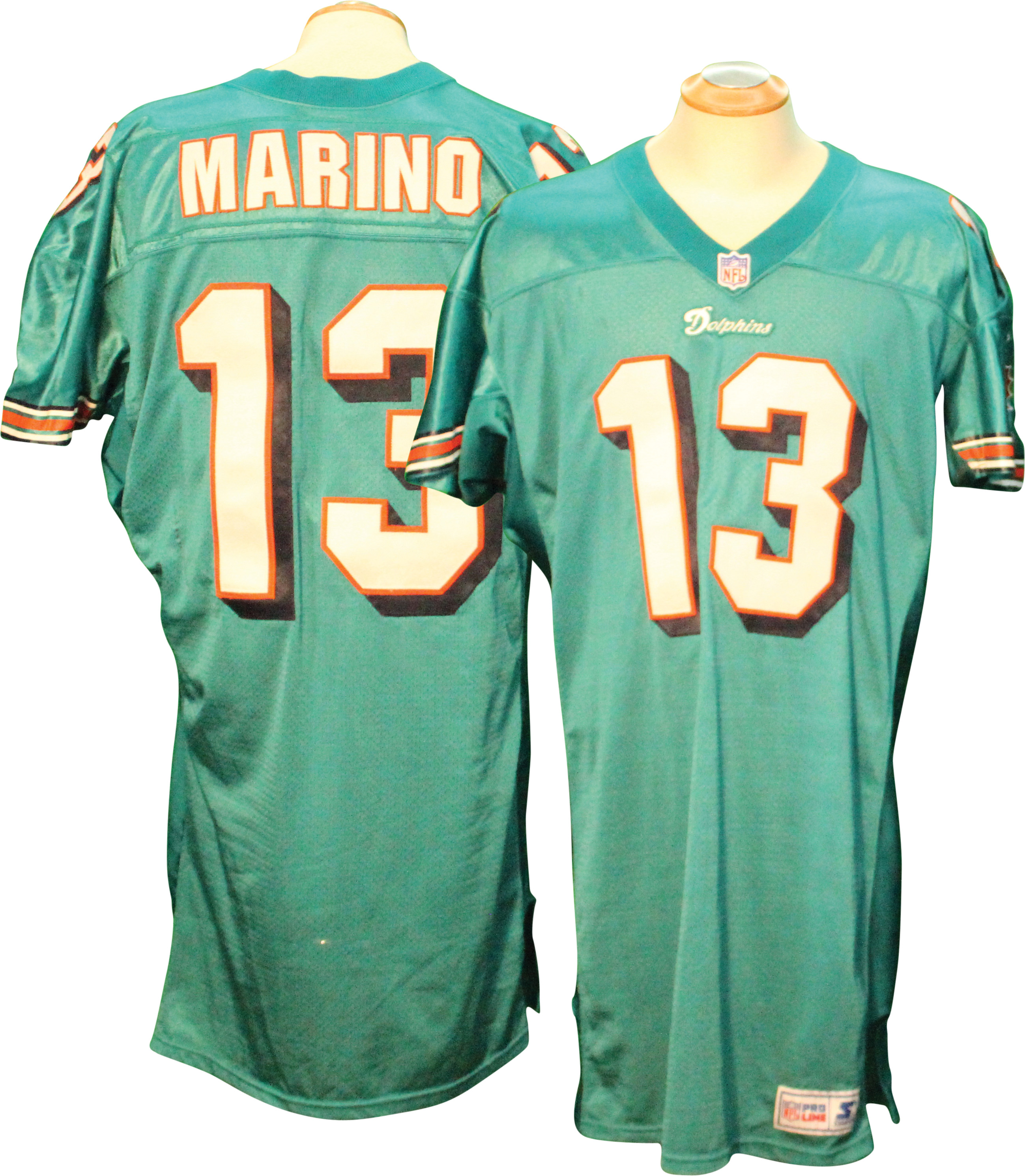 65cbb822d547 ... Shoes 1997 Dan Marino Miami Dolphins Game Used Jersey .