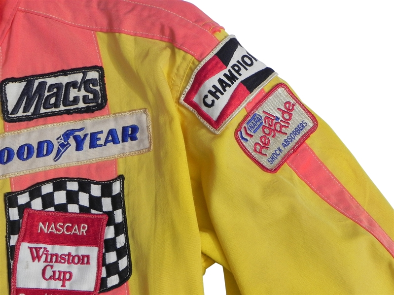 RARE CIRCA 1977 AUTOGRAPHED CALE YARBOROUGH HOLLY FARMS NASCAR RACE WORN SUIT