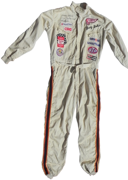 1980 BUDDY BAKER AUTOGRAPHED AND INSCRIBED DAYTONA 500 WINNING RACE USED DRIVERS SUIT