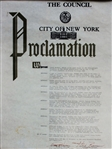 1989 LARRY HOLMES THE COUNCIL CITY OF NEW YORK PROCLAMATION CERTIFICATE