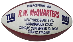 9/10/06 R.W. MCQUARTERS ACTUAL INTERCEPTION FOOTBALL VS. COLTS