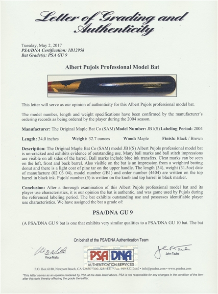 2004 ALBERT PUJOLS GAME USED ST. LOUIS CARDINALS BAT PSA GU 9