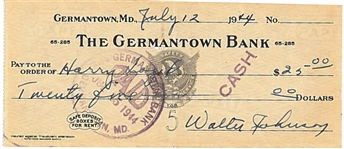 1944 WALTER JOHNSON SIGNED PERSONAL CHECK