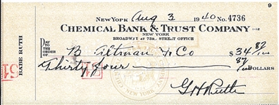 1940 BABE RUTH SIGNED PERSONAL CHECK