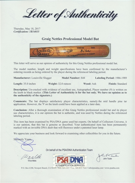 1986/89 GRAIG NETTLES AUTOGRAPHED GAME USED BAT