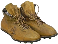 AUTOGRAPHED CUSTOM COLORED L.C. GREENWOOD CLEATS POSSIBLY THE FIRST PAIR MADE LOA