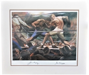 1974 JACK DEMPSEY & GENE TUNNEY DUAL SIGNED LITHOGRAPH BY GUSTAV REHBERGER