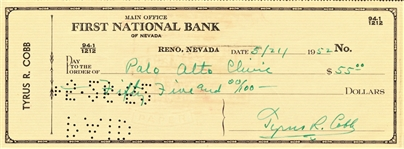 TY COBB SIGNED CHECK