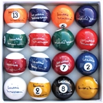 SET OF WILLIE MOSCONI SIGNED POOL BALLS