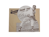 RARE 1949 BOBBY HOGUE DIE-CUT BOSTON BRAVES COUNTER DISPLAY WITH ENVELOPE