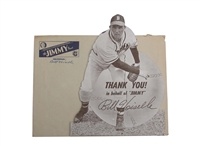 RARE 1949 BILL VOISELLE DIE-CUT BOSTON BRAVES COUNTER DISPLAY WITH ENVELOPE