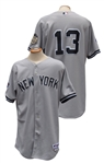 2008 ALEX RODRIGUEZ NEW YORK YANKEES GAME USED ROAD JERSEY WITH ALL-STAR AND YANKEES STADIUM PATCHES STEINER LOA