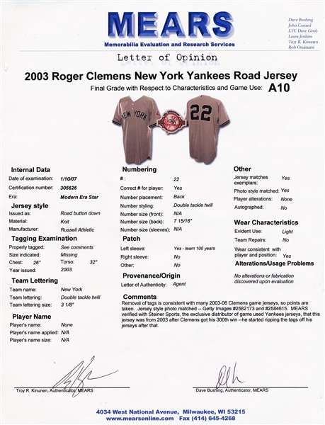 2003 ROGER CLEMENS NEW YORK YANKEES GAME USED JERSEY WITH 100 YEAR PATCH GRADED MEARS A10 STEINER LOA