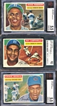 1955 ERNIE BANKS, ROY CAMPANELLA, AND HANK AARON TOPPS GRADED CARDS