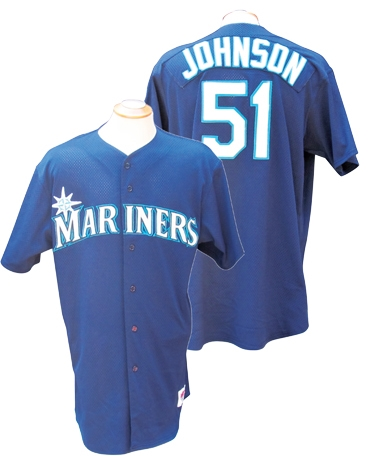 1998 RANDY JOHNSON SEATTLE MARINERS GAME USED JERSEY
