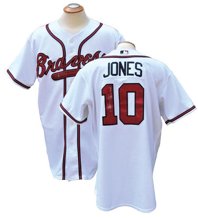 2005 CHIPPER JONES SIGNED ATLANTA BRAVES GAME USED JERSEY