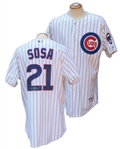 CIRCA 2000 SAMMY SOSA SIGNED CHICAGO CUBS GAME USED JERSEY