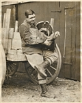 BABE RUTH TYPE 1 PHOTO HOLDING A TURKEY AT HIS MASSACHUSETTS HOME