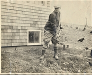 BABE RUTH SHOVELING AT HIS MASSACHUSETTS HOME