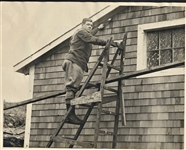 BABE RUTH DOING REPAIRS TO HIS HOME IN MASSACHUSETTS
