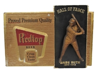 "1957 BABE RUTH ""RED TOP BEER"" COMPLETE DISPLAY WITH STATUE"