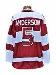 CLAY ANDERSON HARVARD CRIMSON RARE HOCKEY JERSEY FROM 2015 RIVALRY ON ICE GAME VS YALE AT MSG.