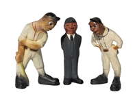 1941 LAFAYETTE RITTGERS SET OF (3) CHALKWARE BASEBALL FIGURES WITH PITCHER, BATTER & UMPIRE