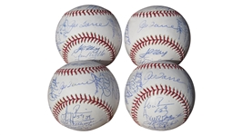LOT OF 4 2003 YANKEES TEAM SIGNED BASEBALLS MLB
